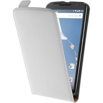 Kunst-Lederhülle Nexus 6 Flip-Case weiß