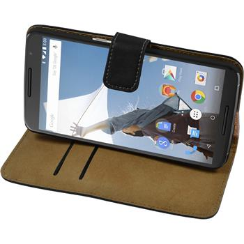 Kunst-Lederhülle Nexus 6 Wallet schwarz