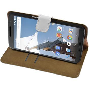 Kunst-Lederhülle Nexus 6 Wallet weiß + 2 Schutzfolien