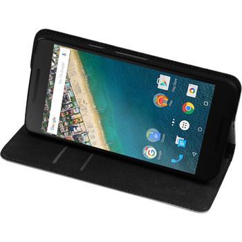 Kunst-Lederhülle für Google Nexus 5X Book-Case weiß + 2 Schutzfolien