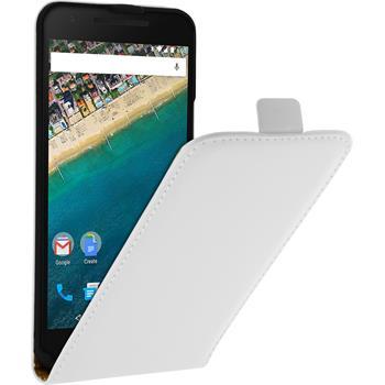 Kunst-Lederhülle für Google Nexus 5X Flip-Case weiß + 2 Schutzfolien