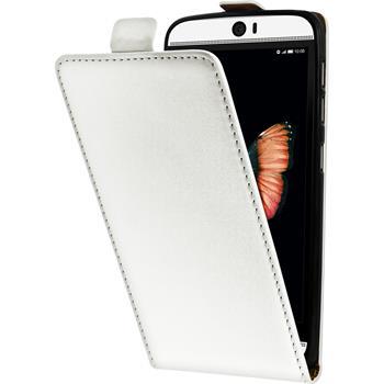 Kunst-Lederhülle für HTC Butterfly 3 Flip-Case weiß Case