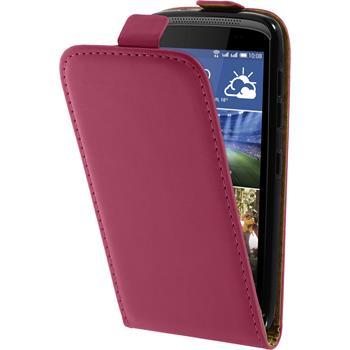 Lederhülle Desire 326G Flip-Case pink + 2 Schutzfolien