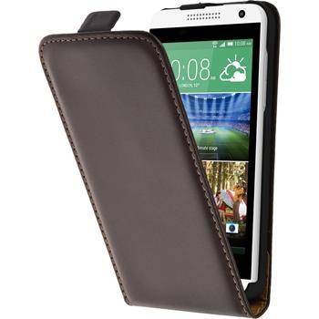 Kunst-Lederhülle für HTC Desire 610 Flip-Case braun + 2 Schutzfolien