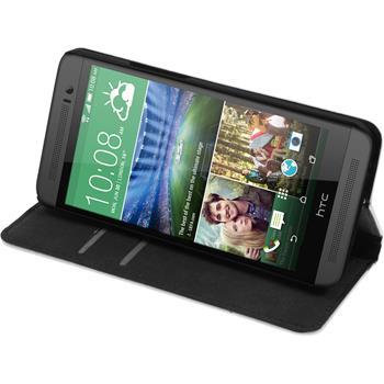 Kunst-Lederhülle für HTC One E8 Book-Case weiß + 2 Schutzfolien