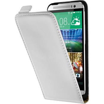 Kunst-Lederhülle für HTC One E8 Flip-Case weiß + 2 Schutzfolien