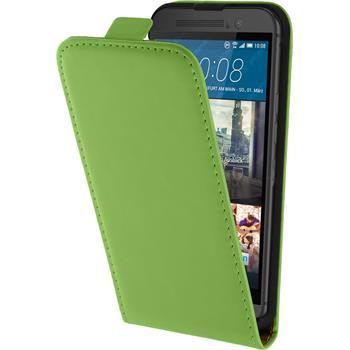 Kunst-Lederhülle One M9 Flip-Case grün + 2 Schutzfolien
