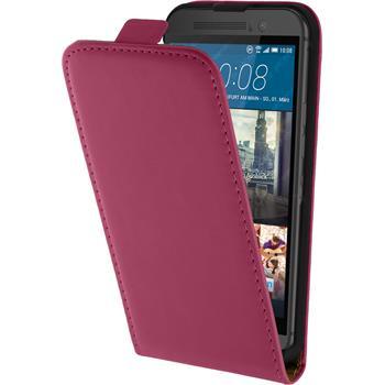 Kunst-Lederhülle für HTC One M9 Flip-Case pink + 2 Schutzfolien