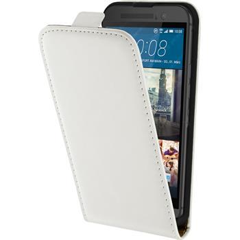 Kunst-Lederhülle für HTC One M9 Flip-Case weiß + 2 Schutzfolien