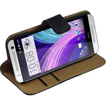 Kunst-Lederhülle für HTC One Mini 2 Wallet schwarz + 2 Schutzfolien