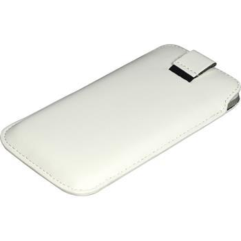 Kunst-Lederhülle für HTC Sensation XL Tasche weiß + 2 Schutzfolien