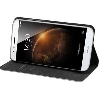 Kunst-Lederhülle für Huawei G8 Book-Case weiß + 2 Schutzfolien