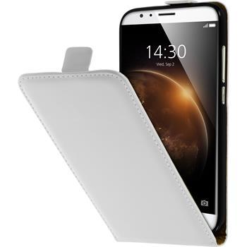 Kunst-Lederhülle für Huawei G8 Flip-Case weiß + 2 Schutzfolien
