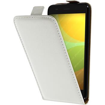 Kunst-Lederhülle für Huawei Honor 4A Flip-Case weiß + 2 Schutzfolien