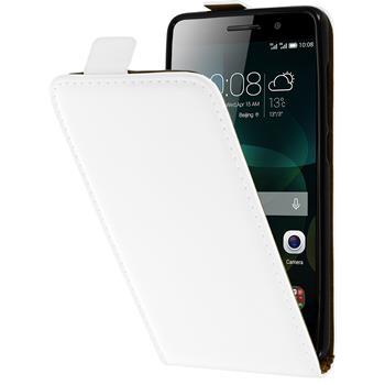 Kunst-Lederhülle für Huawei Honor 4c Flip-Case weiß + 2 Schutzfolien