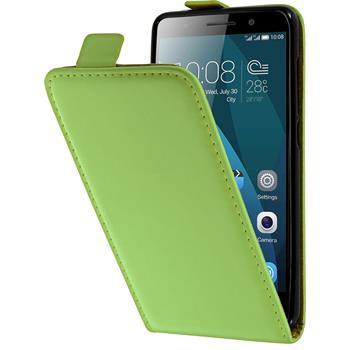 Kunst-Lederhülle für Huawei Honor 4x Flip-Case grün + 2 Schutzfolien