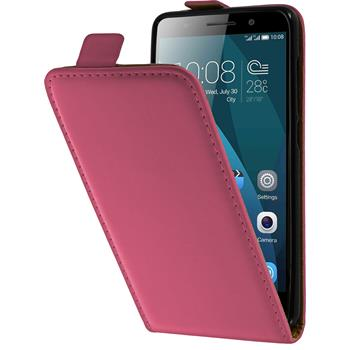 Kunst-Lederhülle für Huawei Honor 4x Flip-Case pink + 2 Schutzfolien