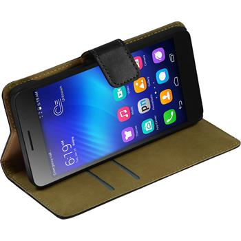 Kunst-Lederhülle für Huawei Honor 6 Wallet schwarz + 2 Schutzfolien