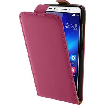 Kunst-Lederhülle für Huawei Honor 7 Flip-Case pink + 2 Schutzfolien