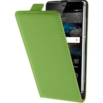 Kunst-Lederhülle für Huawei P8 Flip-Case grün + 2 Schutzfolien