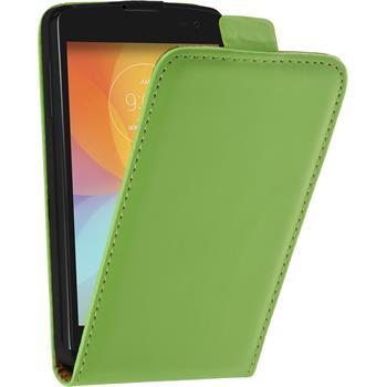 Kunst-Lederhülle für LG F60 Flip-Case grün + 2 Schutzfolien