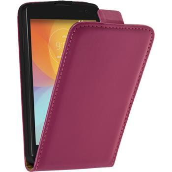 Kunst-Lederhülle für LG F60 Flip-Case pink + 2 Schutzfolien