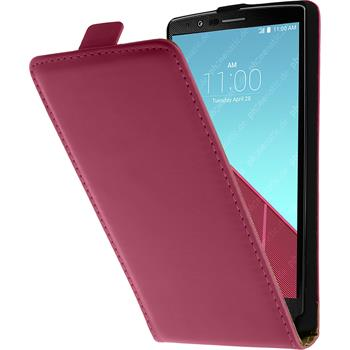 Artificial Leather Case for LG G4 Flipcase hot pink