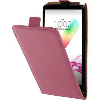 Kunst-Lederhülle für LG G4 Stylus Flip-Case pink + 2 Schutzfolien
