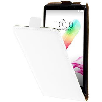 Kunst-Lederhülle für LG G4 Stylus Flip-Case weiß + 2 Schutzfolien
