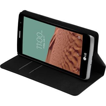 Kunst-Lederhülle für LG L Bello 2 / L Bello II Book-Case schwarz + 2 Schutzfolien