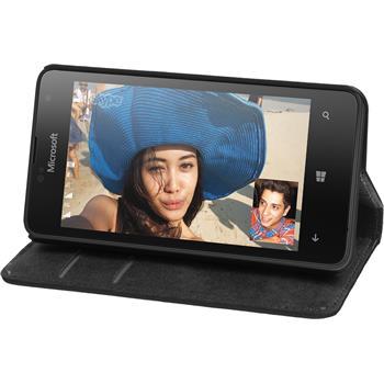Kunst-Lederhülle Lumia 430 Dual Book-Case schwarz