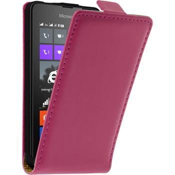 Kunst-Lederhülle für Microsoft Lumia 430 Dual Flip-Case pink + 2 Schutzfolien