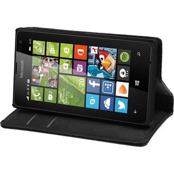 Kunst-Lederhülle Lumia 435 Book-Case schwarz
