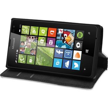 Kunst-Lederhülle für Microsoft Lumia 435 Book-Case weiß + 2 Schutzfolien