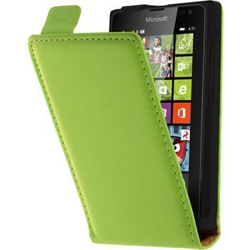 Kunst-Lederhülle für Microsoft Lumia 435 Flip-Case grün + 2 Schutzfolien
