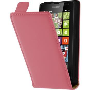 Kunst-Lederhülle Lumia 435 Flip-Case pink + 2 Schutzfolien