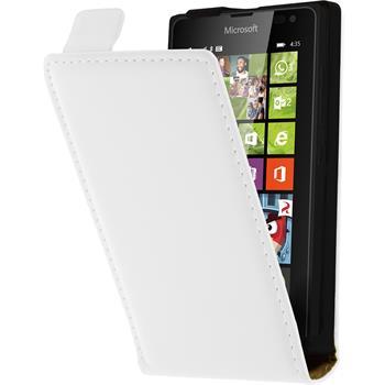 Kunst-Lederhülle Lumia 435 Flip-Case weiß