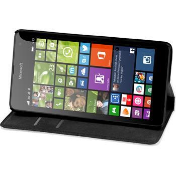 Kunst-Lederhülle für Microsoft Lumia 535 Book-Case weiß + 2 Schutzfolien