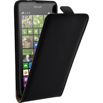 Kunst-Lederhülle Lumia 535 Flip-Case schwarz
