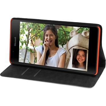 Kunst-Lederhülle für Microsoft Lumia 540 Dual Book-Case weiß + 2 Schutzfolien