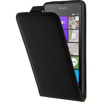 Kunst-Lederhülle für Microsoft Lumia 540 Dual Flip-Case schwarz + 2 Schutzfolien