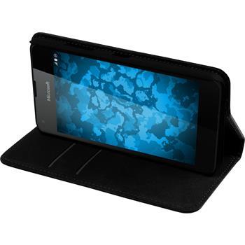 Kunst-Lederhülle Lumia 550 Book-Case schwarz