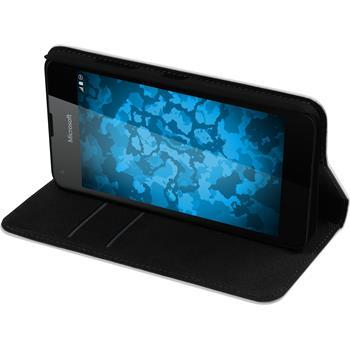 Kunst-Lederhülle Lumia 550 Book-Case weiß