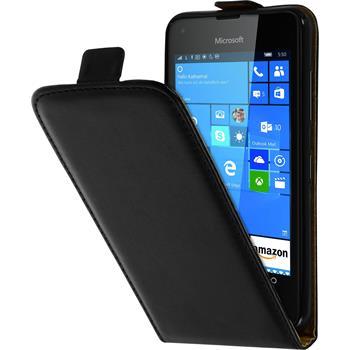 Kunst-Lederhülle Lumia 550 Flip-Case schwarz