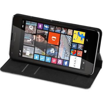 Kunst-Lederhülle für Microsoft Lumia 640 Book-Case weiß + 2 Schutzfolien