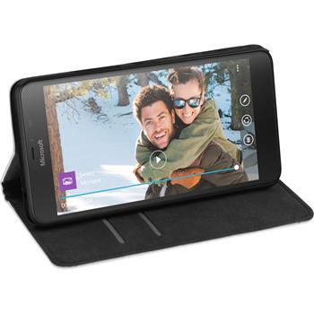 Kunst-Lederhülle für Microsoft Lumia 640 XL Book-Case weiß + 2 Schutzfolien
