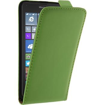 Kunst-Lederhülle für Microsoft Lumia 640 XL Flip-Case grün + 2 Schutzfolien