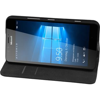 Kunst-Lederhülle Lumia 950 Book-Case schwarz