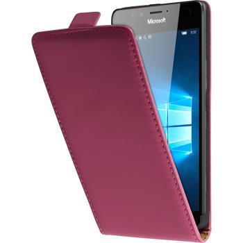 Kunst-Lederhülle für Microsoft Lumia 950 Flip-Case pink + 2 Schutzfolien