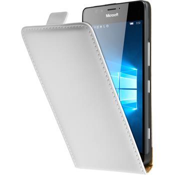 Kunst-Lederhülle für Microsoft Lumia 950 Flip-Case weiß + 2 Schutzfolien
